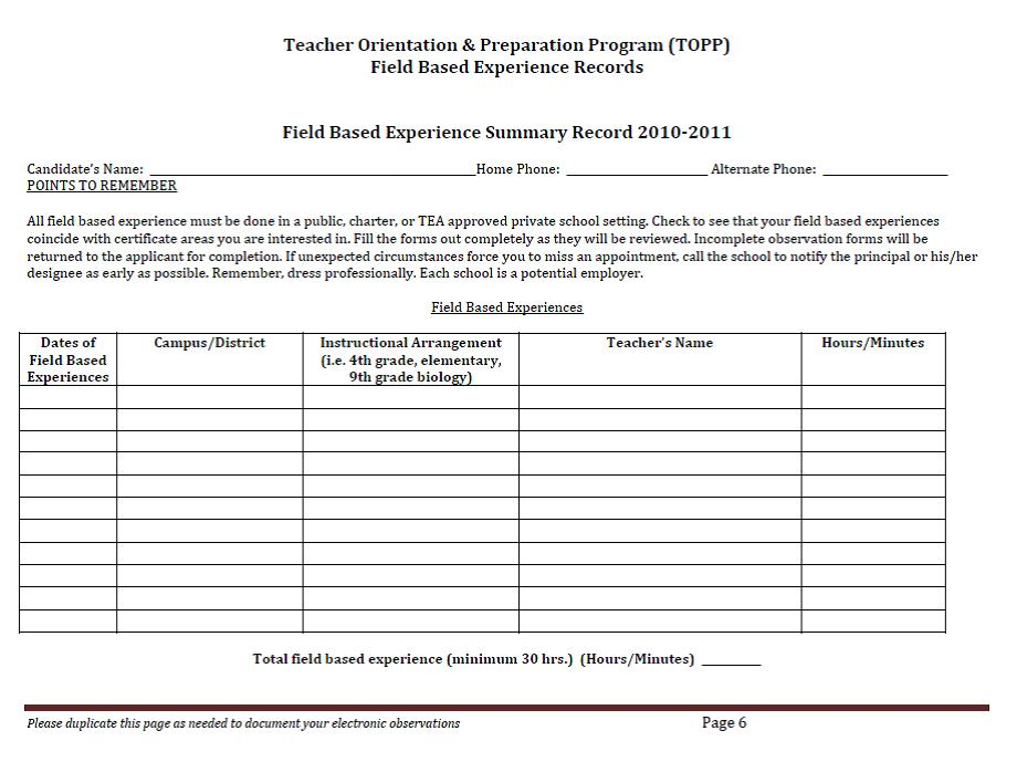 Collaborative Teaching Observation Form ~ Topp licensed for non commercial use only